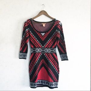 Flying Tomato boho Aztec geometric sweater dress